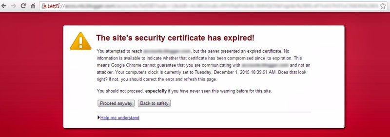 Expired certificate warning