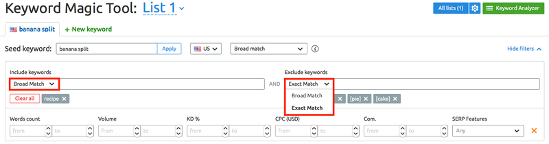Include Exclude match type