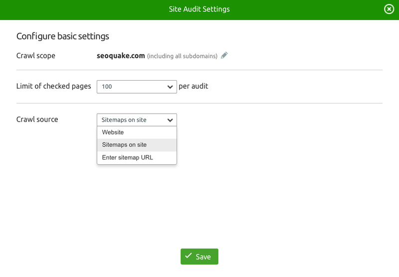 crawl ajax pages and all links of your sitemap with site audit semrush