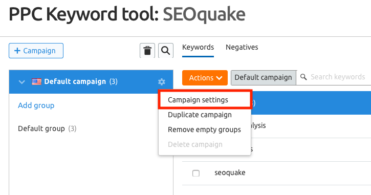 PPC Keyword tool campaign settings