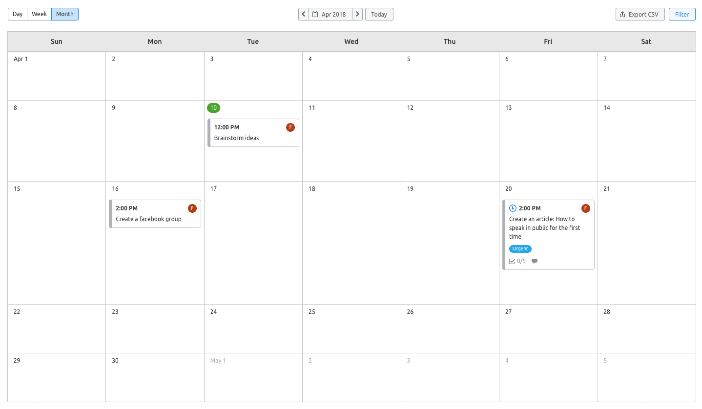 Manage your tasks using Marketing Calendar