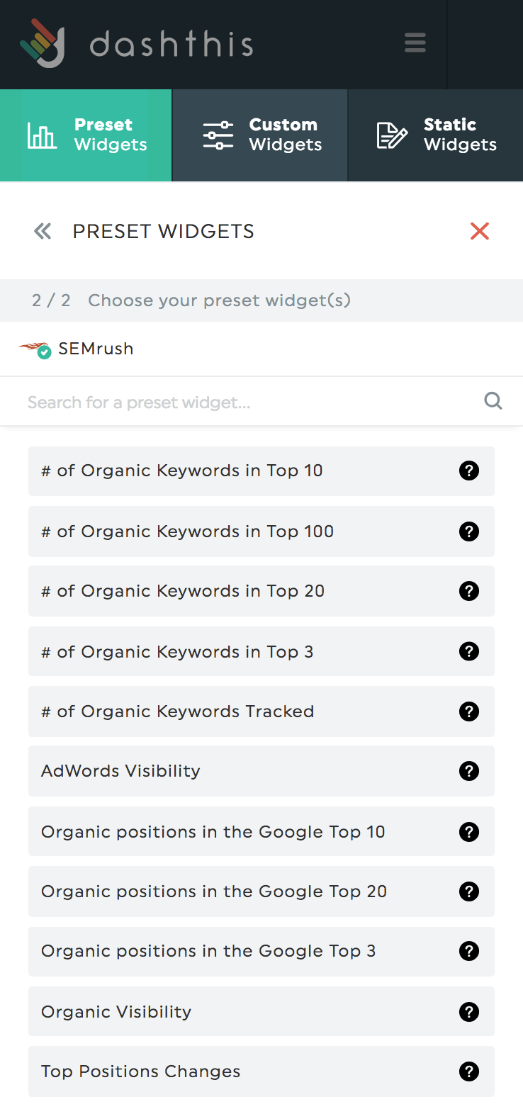 Choose SEMrush widget